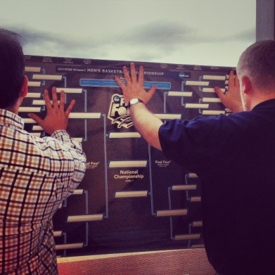 Craig and Duane put up our giant bracket before Selection Sunday.