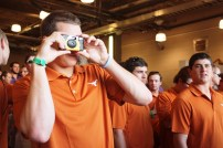 Texas pitcher Parker French didn't use a GoPro like his teammates -- instead he opted for an old-school Polaroid.