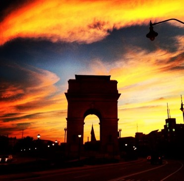 Exploring Atlantic Station's Millennium Gate at dusk.