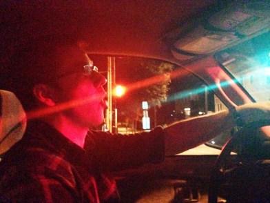 Cruising around, crooning.