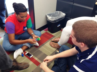 Why, yes, playing with Legos in our near-empty cubes was a must.