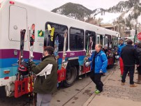 Coolest buses ever. You put your skis and boards on the outside!