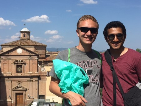 My roommate Mike and I with the stunning Siena in the background