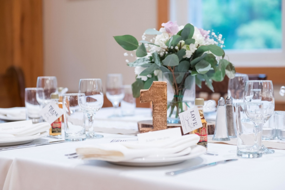 Beautifully dressed wedding table