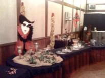 A party set up in the ballroom