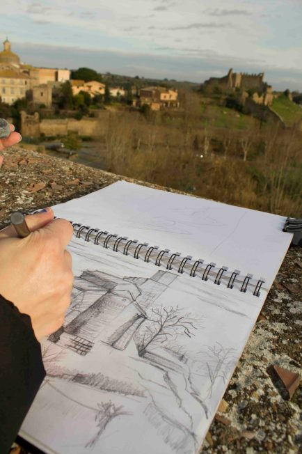 Sketching the beautiful scenery in front of us
