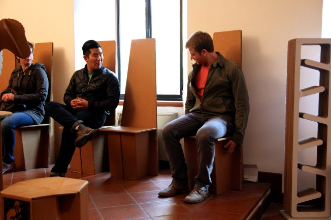 He just can't believe the chair is completely made of cardboard! At the Paper museum in Fabriano where Italians invented the Watermark!