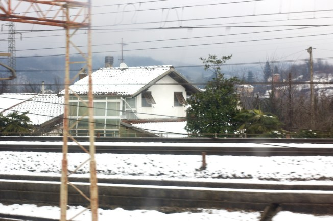 I finally saw snow..from the inside of a train..for five minutes. On our way to Torino we passed some snowy parts.