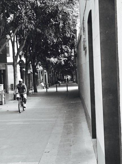 Cyclist on Barcelona Street