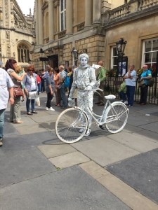 Some kind of street performer in Bath--it must have taken forever to make that costume, but I'm not quite sure what she's supposed to be.