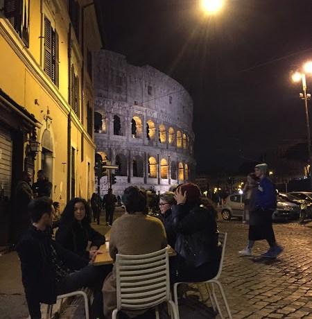 Rome piazza at night