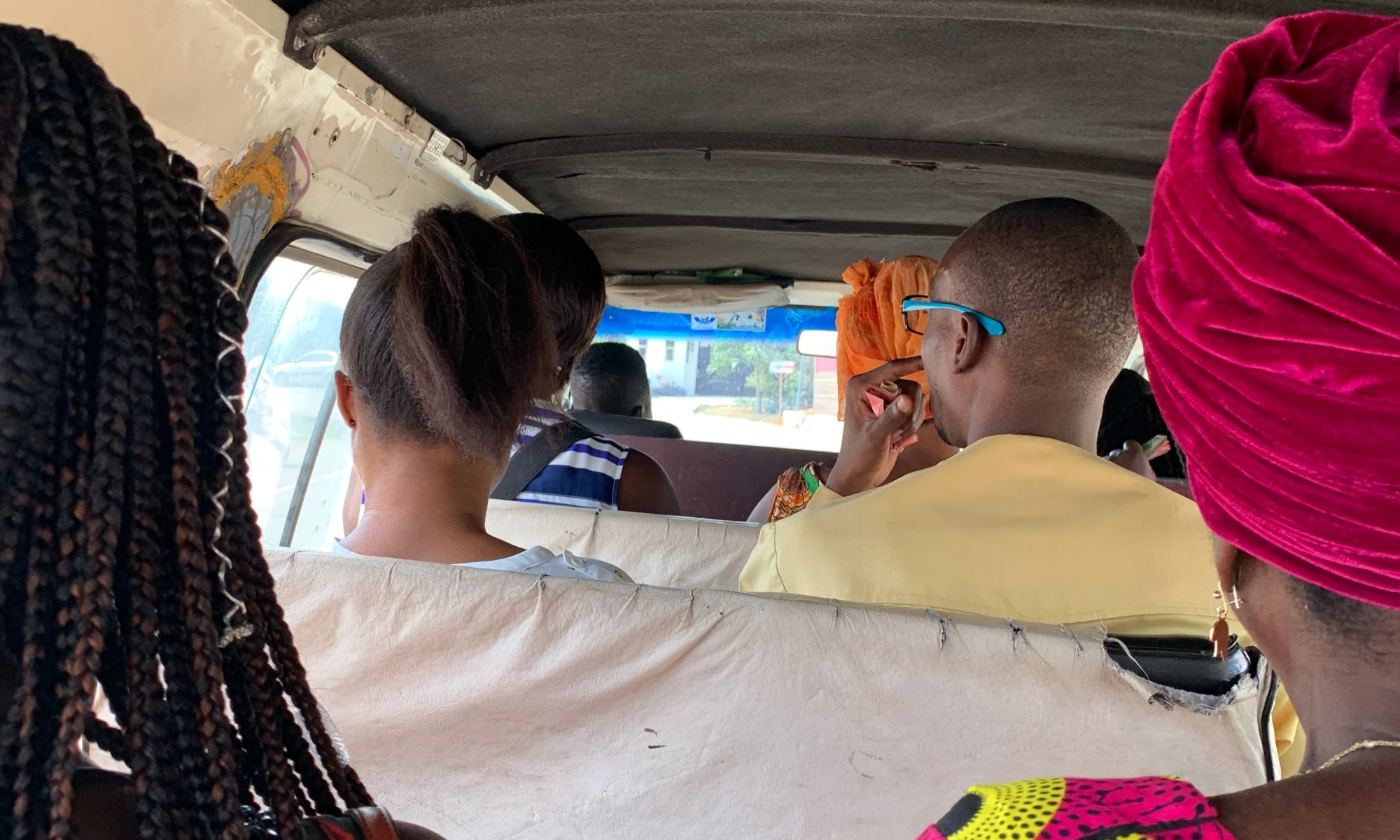 riding in the tro-tro in Ghana