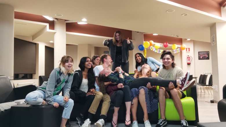 My friends and I on our final night: Jules, Olivia, Noemi, Nils, Anya, Anjali, Aurora and Gabe (and of course, Elena across their laps)