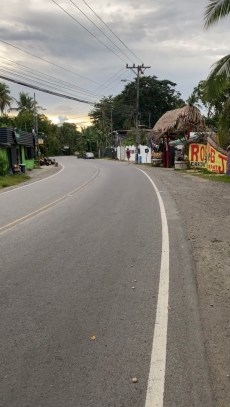 Walking along the street in a small beach town called Puerto Viejo in Costa Rica.