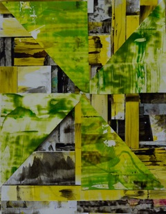 Kojo Griffin, Alternative to What, 2014; acrylic, foam-core, synthetic paper on canvas, 18 by 24 inches.