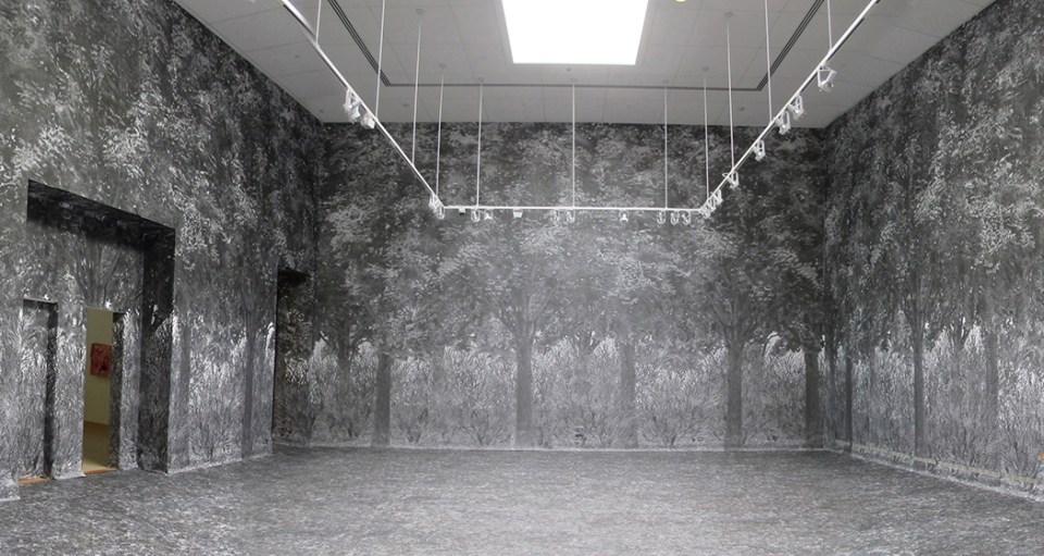 Gary Kachadourian. Forest, 2014. Large format xerographic prints. 23' x 36' x 40' FAM/Western Carolina University