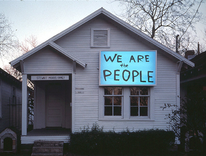 Sam Durant's installation, We Are the People, on view at Project Row Houses in 2003. Photo by Rick Lowe, courtesy Project Row Houses (Via Creative Time Reports)