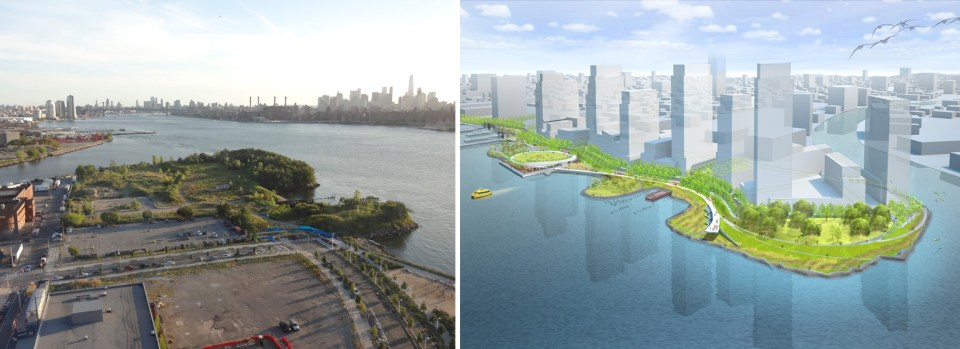 Left: Hunter's Point South, July 2015; Right: Rendering of development from Thomas Balsley Associates + Weiss Manfredi