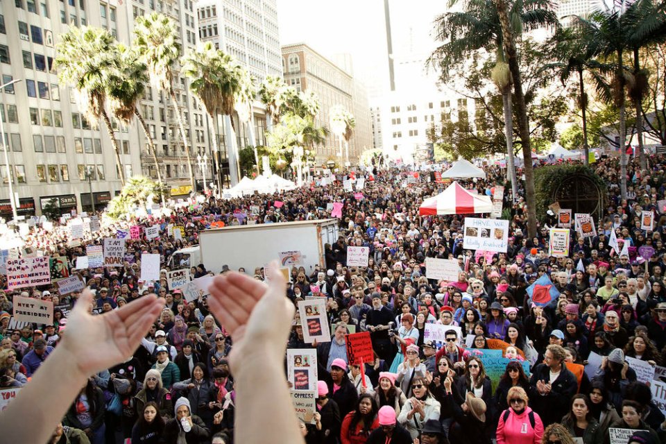 The work is connected to other like-minded initiatives, from the USDAC and Citizen Artist Baltimore, to artists actions around the elections and subequent organizing. Pictured: The Women's March on 1/21/17, sourced from USDAC. (AP Photo/Jae C. Hong).
