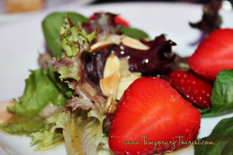 Field Greens with Plant City Strawberries, toasted Almonds and Farmstead Stilton #EpcotinSpring #FlowerandGarden