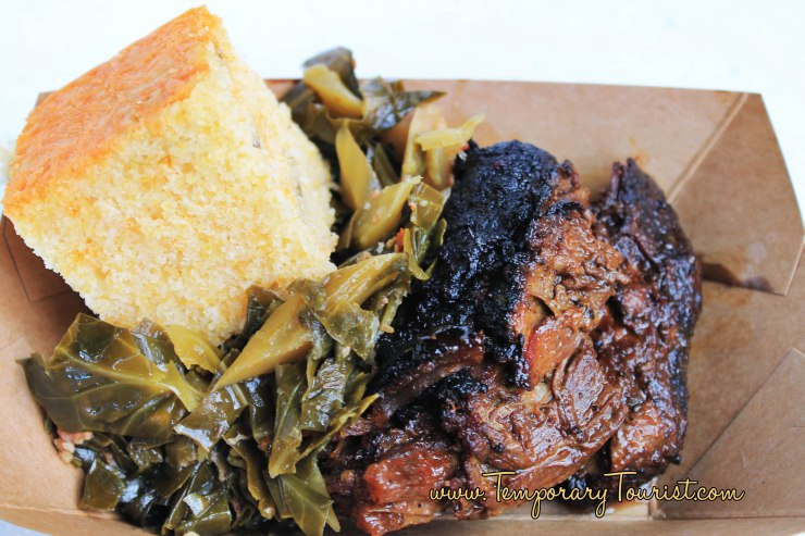 Smoked Beef Brisket with Collard Greens and Jalapeño Corn Bread (Gluten Free) #EpcotinSpring #FlowerandGarden