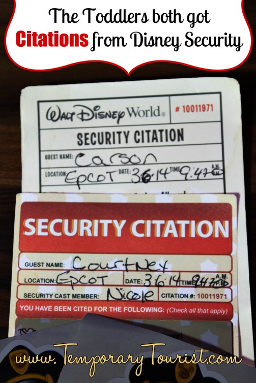 Both Babies got Citations from Walt Disney World Security Last Night