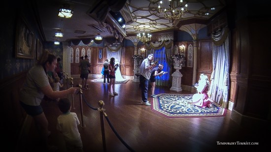 Photo room inside the Princess Fairy Tale Hall.  Each room has two photo spots for guests to take pictures with the favorite princesses.