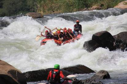 nile rafting rapid front