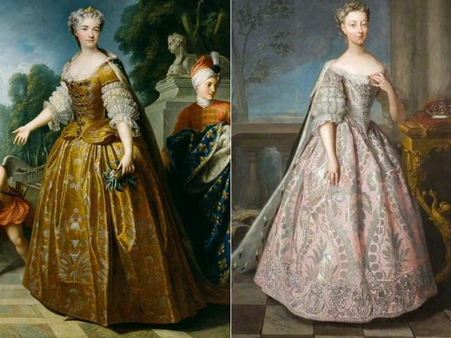 Dans les années 1720 le panier est plus rond, mais on retrouve