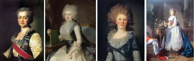 Différents styles : un précoce (1784, Ekatérina Voronstova- Dachkova par Lévitsky), début des années 1790 Olga Jerebtsova par J-L Voille et la contesse Sofia Panina (1791), Elisabeth Vigée Lebrun, la grande duchesse Elisabeth Alexeievna en 1796./ Different styles : an early (1784 Ekatérina Voronstova- Dachkova by Lévitsky), beggining if the 1790's Olga Jerebtsova by J-L Voille et the countess Sofia Panina (1791), Elisabeth Vigée Lebrun, the grand duchess Elisabeth Alexeievna in 1796.