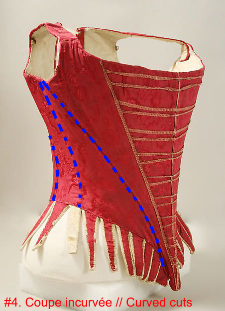 Corsage, soie et cuir / fer / fanons / lin (1775-1789, conservée au MET). La cambrure des coutures est soulignée en bleu.  ||   Bodice, silk/leather / iron / baleen / linen (1775-89, kept in the MET). The curved seamings are lined in blue.