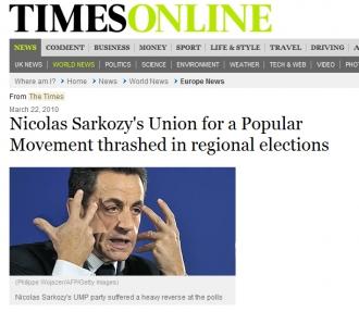 capture  d'écran su site du  journal britannique The Times
