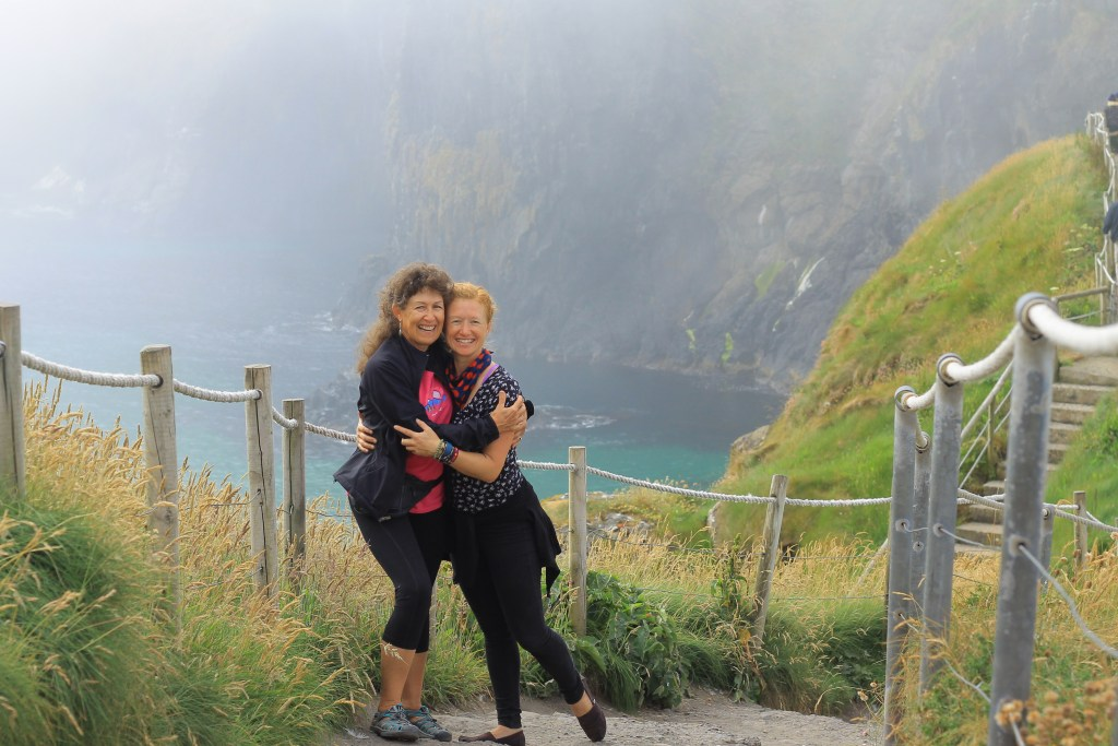 The foggy inlet where Mom faced her fears and followed me across the Carrick-a-Rede fisherman's bridge. You did it, Mom!