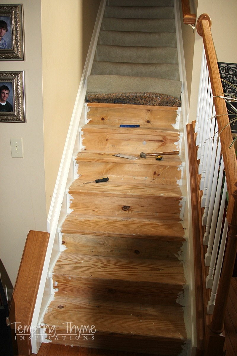 Stair Project Begins Removing The Carpet And Prepping The Wood   Carpeted Stairs With Wood Floors   Charcoal Grey   Upstairs   White   Diy   Luxury