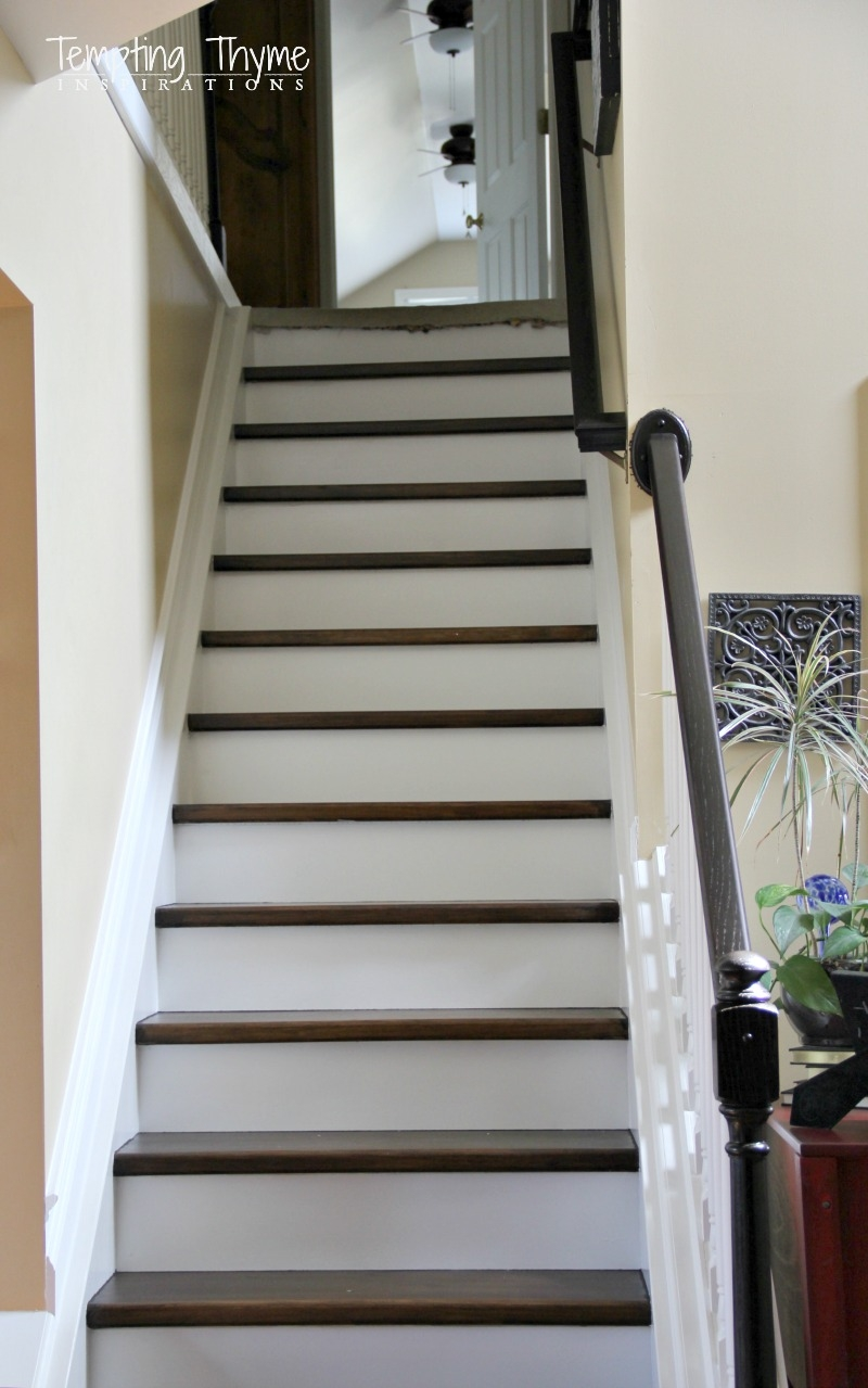 Heading On Up Installing New Stair Risers Tempting Thyme | Wood Steps With White Risers | Timber | Wood Stair | Before And After | Color | Stair Tread