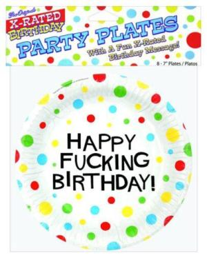 "7"" Happy Fucking Birthday Plates - Bag of 8"