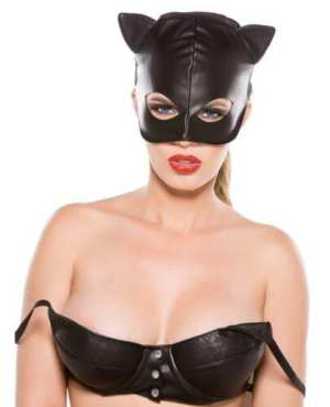 Faux Leather Cat Mask Black O/S