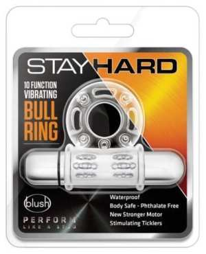 Blush Stay Hard 10 Function Vibrating Bull Ring Cock Ring - Clear