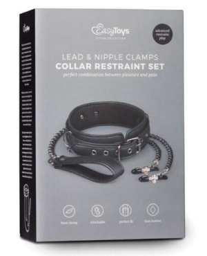 Easy Toys Faux Leather Collar w/Nipple Chains - Black