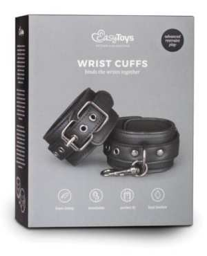 Easy Toys Faux Leather Handcuffs - Black