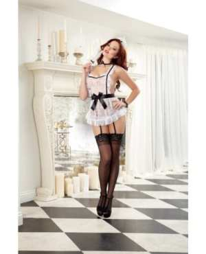 4 pc Lace Apron w/Attached Elastic Garters