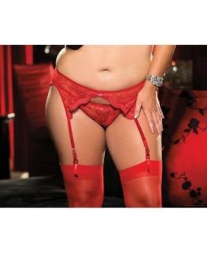 Scalloped Embroidery Garterbelt w/Adjustable Front & Back Garters Red 1X/2X