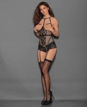 Open Cup Bustier & Crotchless Boyshorts (Hosiery Not Included) Black O/S