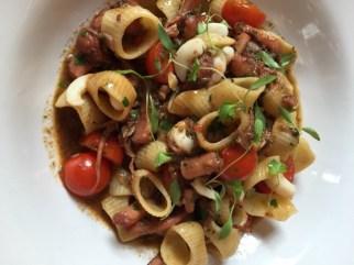 Slow braised squid & cherry tomato pasta