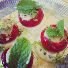 Stuffed chilli peppers with chive goats curd