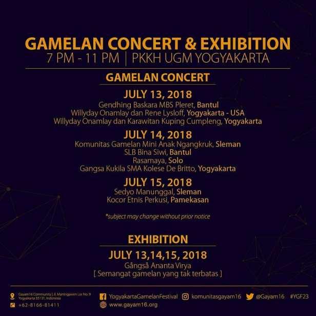 Jadwal Pagelaran Gamelan Yogyakarta Gamelan Festival 2018