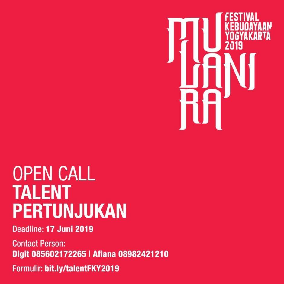 OPEN CALL Talent Pertunjukan Festival Kebudayaan Yogyakarta (FKY) 2019
