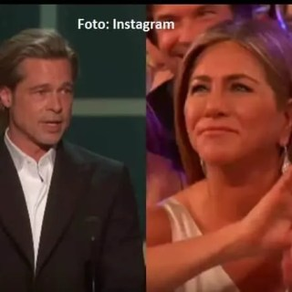 SAG Awards 2020 Brad Pitt Jennifer Aniston insieme backstage foto