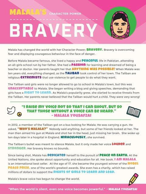 Malala Yousefzai's character power is Bravery.