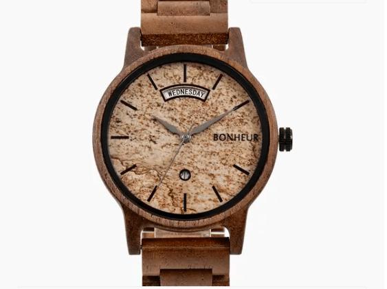 Cork faced custom wood watch from Bonheur